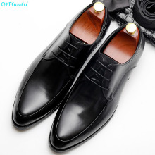QYFCIOUFU 2019 Handmade formal shoes men Brand Wedding Party Office Male Dress Shoe Genuine Leather Men Oxford italian shoes