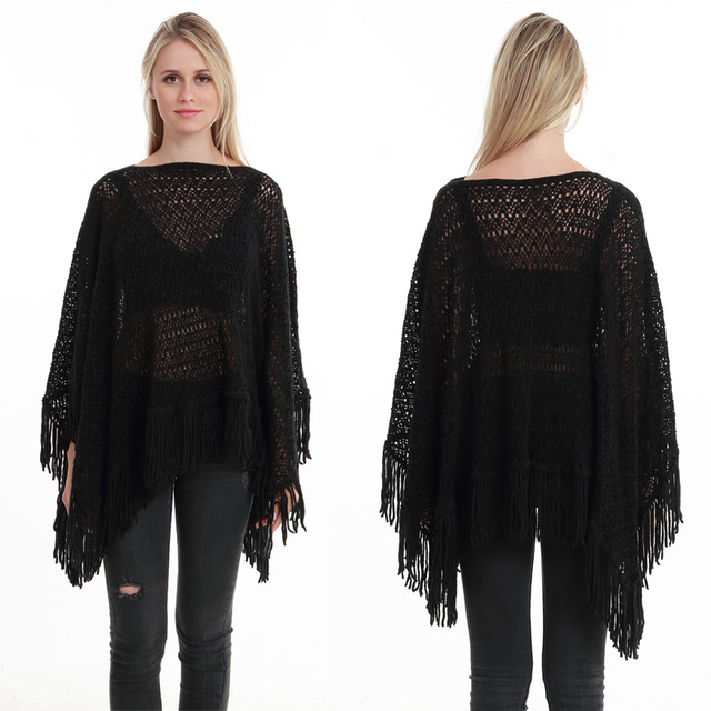 New Autumn Fashion Woman Poncho Hollow Tassel Loose Sweater For Women Pullover plus size Thin Sweater Loose Shawl 8