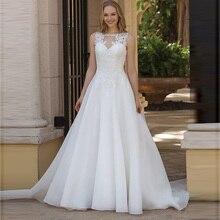 Organza Princess Boho Wedding Dress A Line O Neck Appliqued Vestido De Noiva Train Simple Cheap Bridal Gown