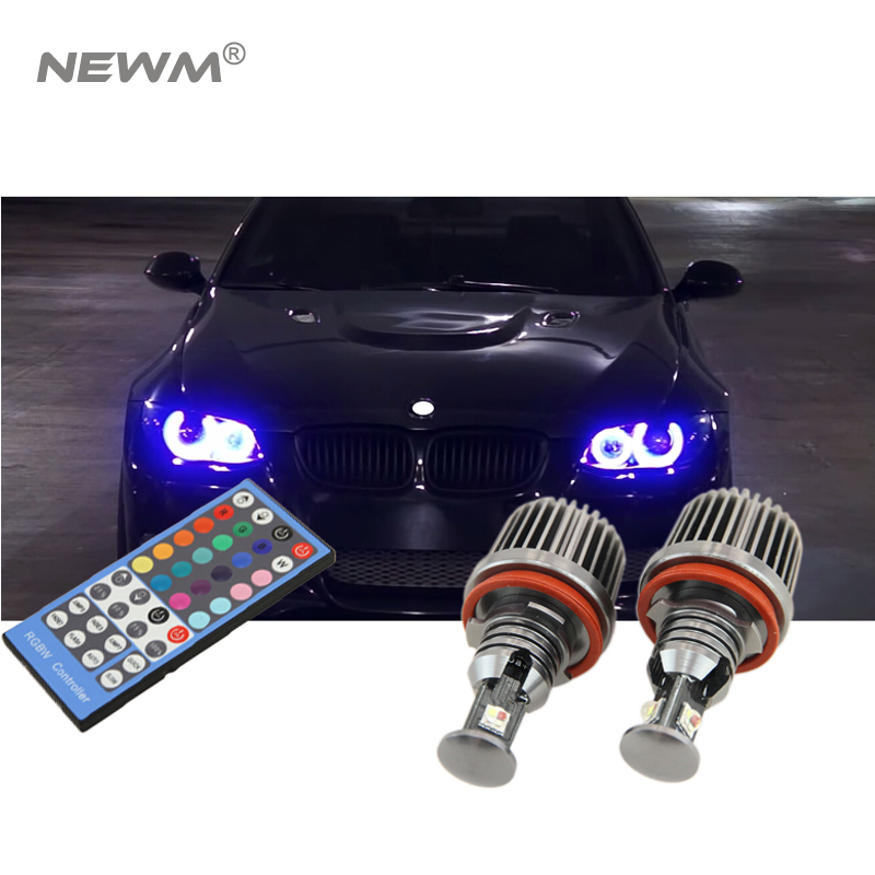h8 72W RGBW Color Change with Remote Control Canbus led angle eyes headlight head lamp kit  for E91 E92 E93 E60 E61