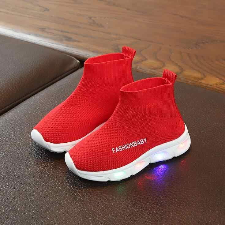 ילדים נעלי אלסטי ספורט Led נעלי פנאי תינוק בני בנות אור נעלי ילדי ילדים לנשימה ספורט נעלי זוהר סניקרס