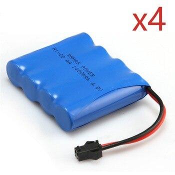 4 PCS 4.8V 1400mAh RC Ni-CD Battery Pack 2Pin Plug AA Rechargeable Battery