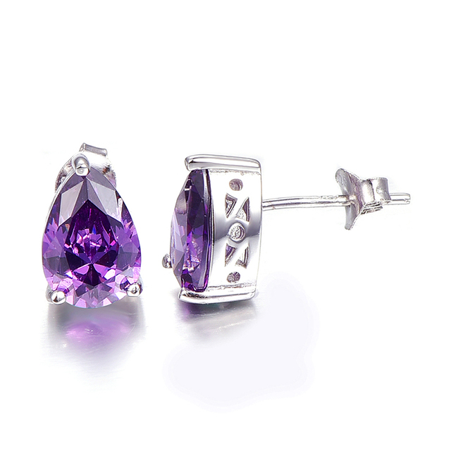 Vintage Purple Amethyst Stone Pierced Earrings Band Quality Small Stud Earrings Sterling Silver Birthday Gift For Women