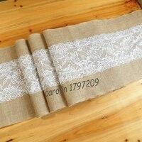 5 stks/partij 30x275 cm jute kant rustieke bruiloft tafelloper party event supplies hessische jute tafelloper voor vintage bruiloft