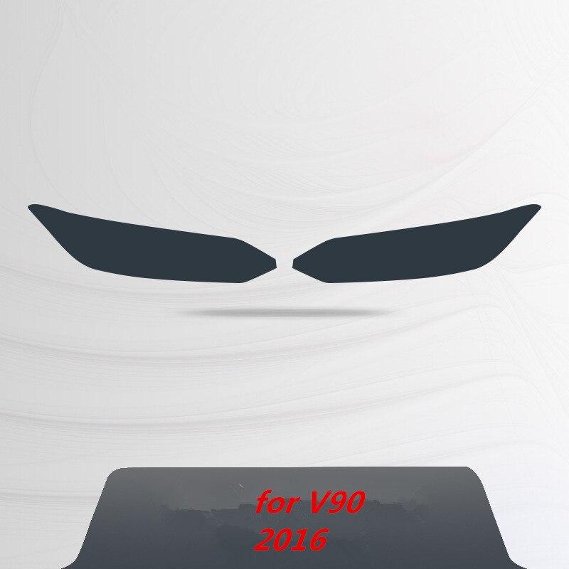 Для Volvo S60 XC90 XC60 V90 аксессуары головной светильник защитная пленка Цвет черный дымчатый матовый светильник головной светильник пленки углеродное волокно автомобильные наклейки - Название цвета: for V90 2016