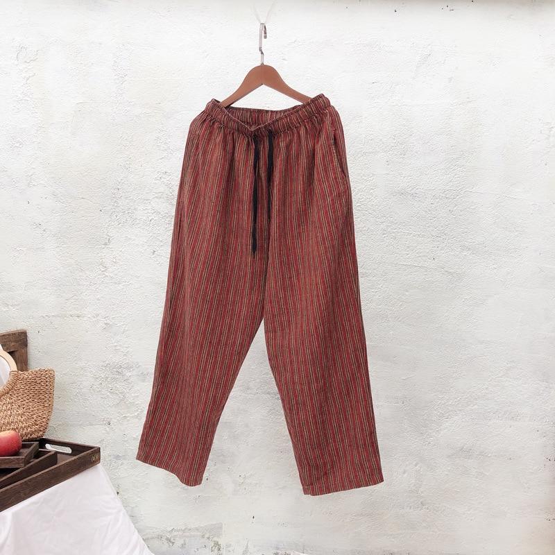 New Spring Summer Linen Trousers Print Literary Harem Pants Loose Drawstring Elastic Waist Pants Casual Pants 1