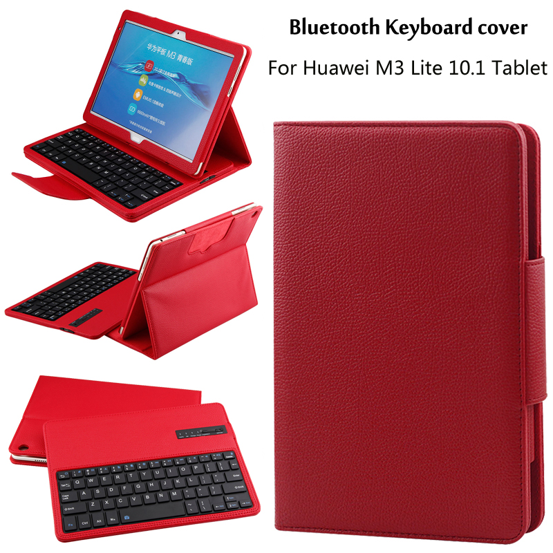 For Huawei MediaPad M3 Lite 10 BAH-W09 BAH-AL00 10.1 inch Tablet Detachable ABS Bluetooth Keyboard PU Leather Case Cover +Gift coque smart cover colorful painting pu leather stand case for huawei mediapad m3 lite 8 8 0 inch cpn w09 cpn al00 tablet