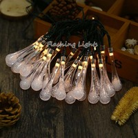 Waterproof Solar String Light 4 8M 20LED Water Drop Fairy Lights Outdoor Garden Wedding Decoration Christmas