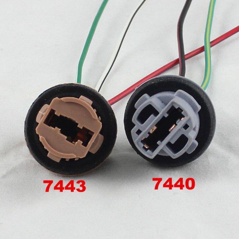 Fsylx 2 pçs t20 7440 7443 led suporte da lâmpada led soquete adaptador conector led luz do lado de estacionamento lâmpada cablagem adaptador soquete