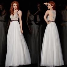 A-linie O-ansatz Open Back Sleeveless Beige Perlen Bodenlangen Maxi Kleid Mode Frauen Sexy Langen Weißen Chiffon Abendkleid