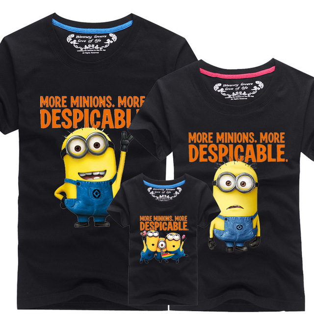 808a3e7c7 2016 New Family Look T Shirts 13 Colors Summer Family Matching Clothes Dad  & Mom & Son & Daughter Cartoon Minions Outfits, HC311