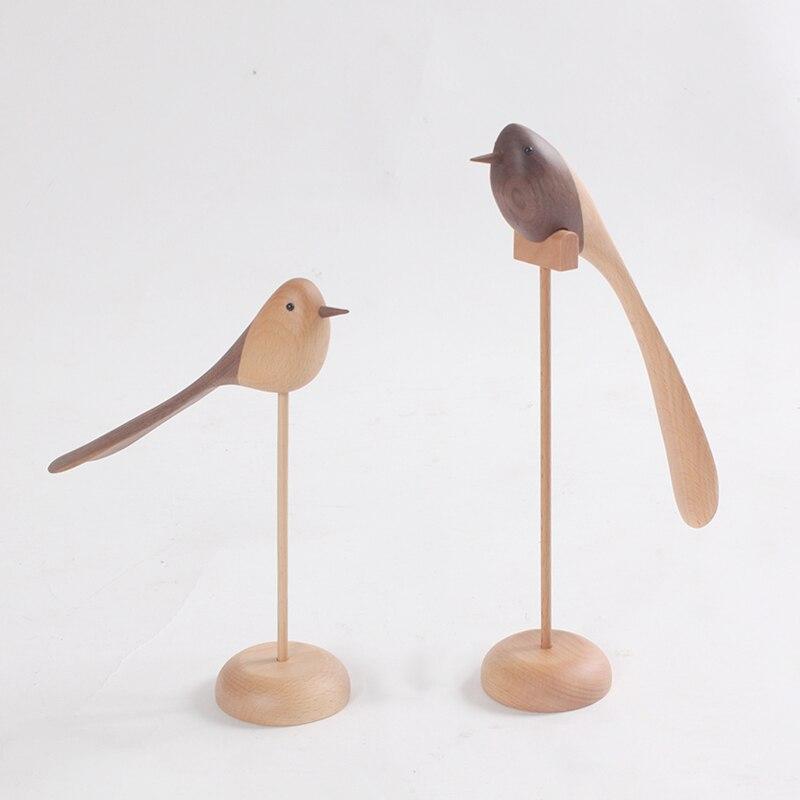 Bois Artisanat En Bois Massif Décoration Longue Queue Oiseau Cadeau D'anniversaire À La Main Cadeau Spot Décoration