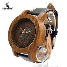 BOBO BIRD K09 Erkek Wooden Watches Fashion Silver Needle with Leather Band Casual Red Sandal Wood Clock in Gift Box