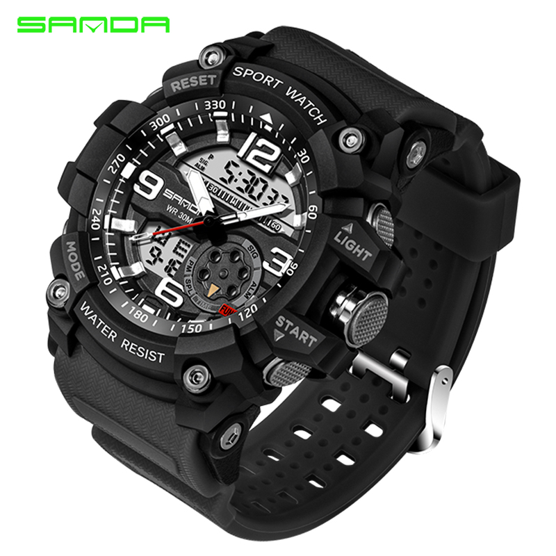 SANDA New Military Sport Watch Men Top Brand Luxury Famous Electronic LED Digital Wrist Watch Male