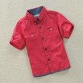 Новый 2015 Весна/Осень Дети Мальчики Точка Хлопка С Коротким рукавом Рубашки Дети Рубашки для Мальчиков
