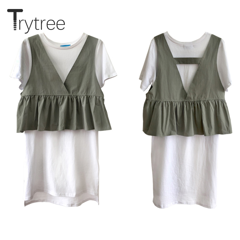 Trytree Women 2019 Summer Spring two piece Set Casual Tops + Dress Black Flare Sleeve Mesh Suit Set Women Costumes 2 Piece Se Price $27.66