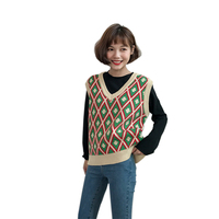 New 2017 Women Kawaii Sweater Vest Female Retro Knitted Small Vest Cute Tank Top Pullover Preppy