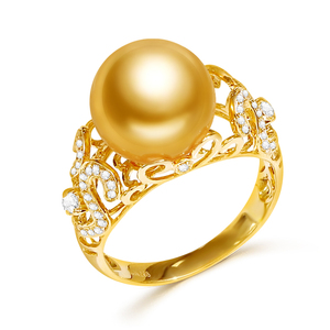 Image 5 - YS 2.68 Grams 14K Solid Gold Anniversary Ring 10 11mm Genuine Saltwater South Sea Pearl Ring Fine Jewelry