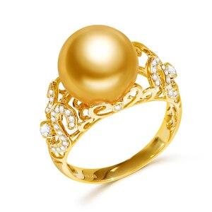 Image 5 - YS 2.68 gramów 14 K z litego złota pierścionek jubileuszowy 10 11mm prawdziwy ze słoną wodą perła z Morza Południowego pierścień Fine Jewelry