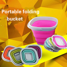 Multifunctional silicone bucket portable folding bucket retractable outdoor  washing brush bucket