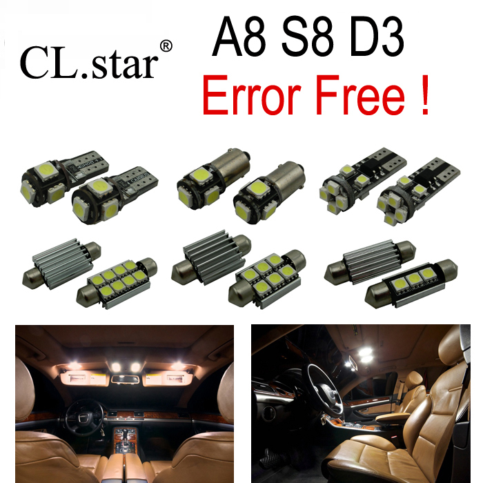 ФОТО 23pc X canbus Error Free  LED Lamp Interior Light Kit Package for Audi A8 S8 D3 Quattro (2003-2009)