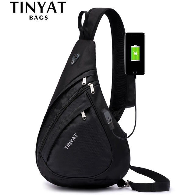 TINYAT New Man Sling Shoulder Bag Anti-Theft Crossbody Bag for 9.7'' Pad USB Charge Waterproof Travel Messenger Casual Chest Bag