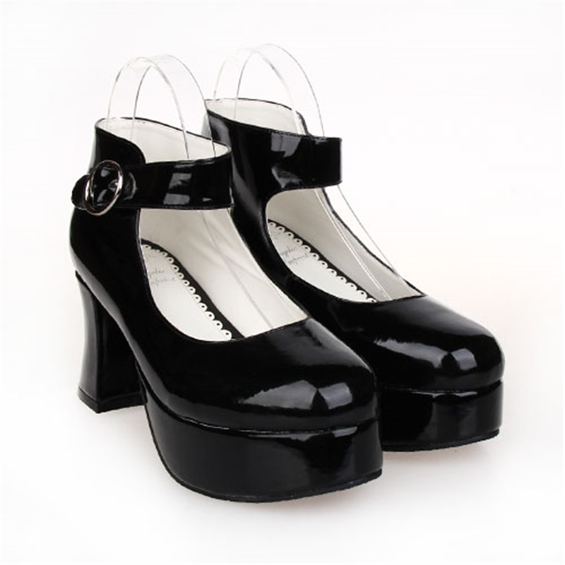 Women's Lolita Cosplay Punk Black Pumps 7.5cm Chunky Heel Platform Shoes 8181-in Women's Pumps from Shoes    2