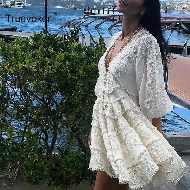 Lin Qualité Robe Sexy Broderie En Superbe Bouffantes Vacances Designer cou Manches Truevoker Boutique Crochet Femmes Haute V uPkOTwXZi