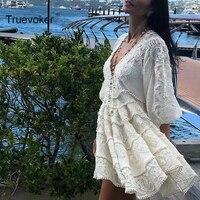 Truevoker Designer Boutique Dress Women High Quality Stunning Sexy V neck Puff Sleeve Embroidery Crochet Holiday Linen Dress