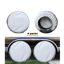 Kayme Four Layer Tire Covers Set Of 4 For Rv Travel Trailer Camper SUV Vinyl Wheel Sunscreen,Rain and Snow Protection Waterproof