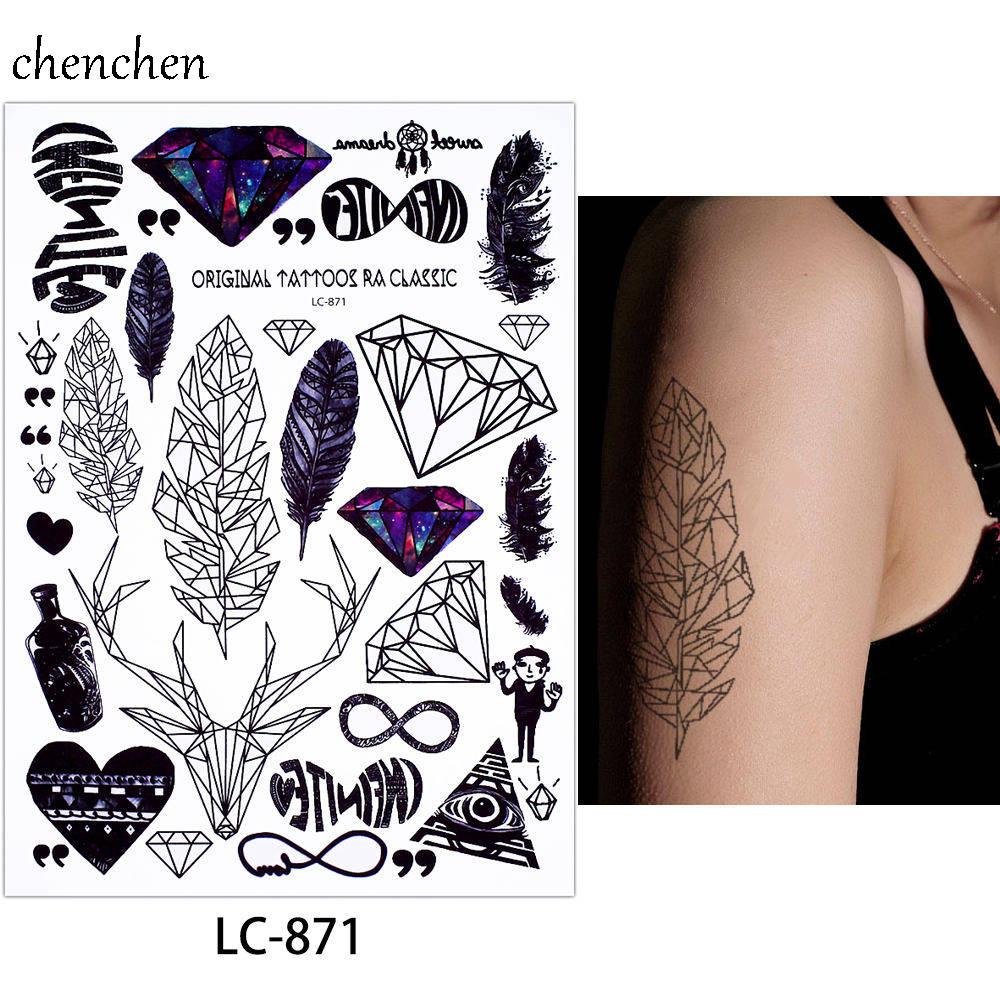 Stiker tato temporer bulu rusa mata berlian jantung dreamcatcher burung botol flash tatoo tato palsu untuk gadis wanita pria di sementara tato dari