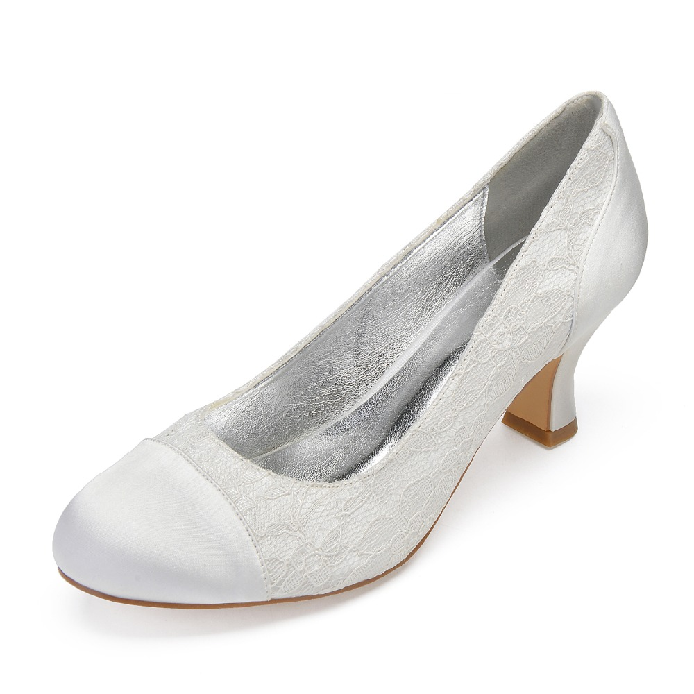 Sweet Satin Patched Lace Rounded Toe Block Kitten Heel