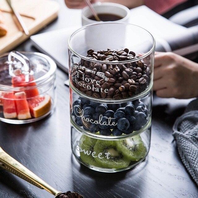 Heat-Resistant Stackable Glass Storage Jars Food Airtight Container Coffee mason jar Cereal Dispenser Kitchen Storage Organizer 2