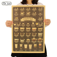 1 Pc Coffee Cup Daquan Bars Kitchen Drawing Poster Adornment Vintage Retro Wall Sticker