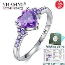 YHAMNI Sent Silver Certificate! 100% 925 Solid Silver Ring Heart Purpl Crystal Fashion Rings Jewelry Gift for Women KPR988(China)