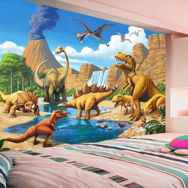 beibehang Custom 3D Mural Wallpaper Lakefront Dinosaur Tyrannosaurus Rex  Children's Room Bedroom Photography Background 3D Kids