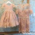 Nueva llegada de la madre y la hija de encaje vestidos de niña con rebordear sash gorgeous glitz pageant vestidos para las niñas