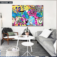 2016 Hot Sale Modern Pop Teenage Graffiti Street Art Poster Abstract Wall Picture Canvas Print Photo