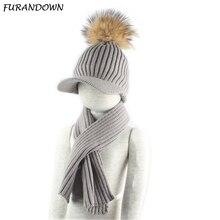 Children Fur Pompom Hat And Scarf Set Warm Knitted Baseball Caps Baby Kids Winter Hats Girls Boys все цены