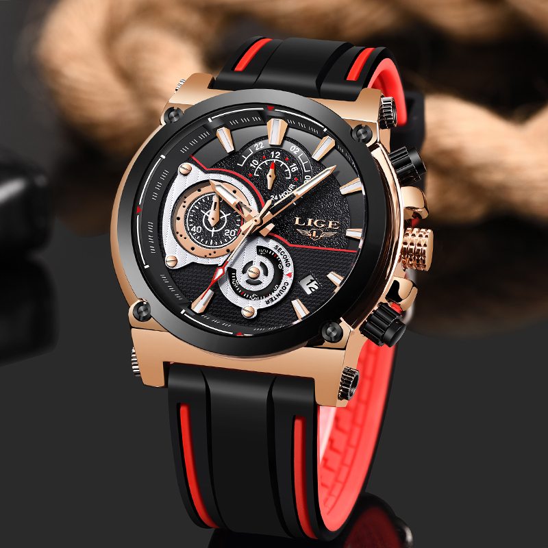 Relogio Masculino 2019 LIGE Mens Watches Silicone Strap Top Brand Luxury Waterproof Sport Chronograph Gold Quartz Wristwatch Box in Quartz Watches from Watches