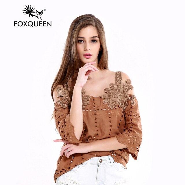 Foxqueen 2017 Новая Мода Ретро выдалбливают жгут слово принес Росы Плеча Одежды