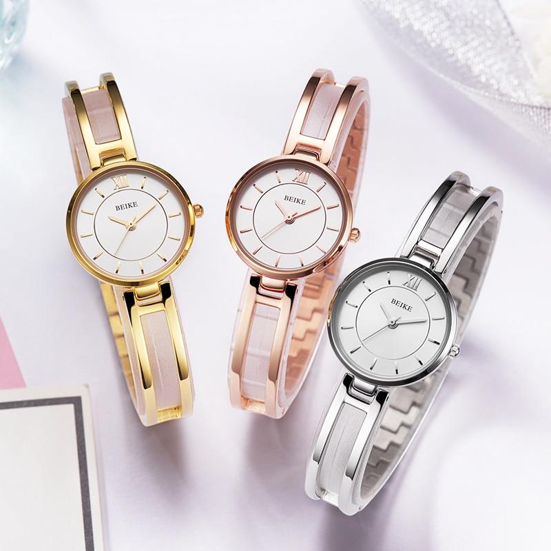 Marque de luxe mode femmes montres dames élégantes montres-bracelets petit cadran Quartz horloge étanche en acier inoxydable Bracelet montre