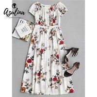 AZULINA Off Shoulder Kwiat Wydruku Przycisk Up Sukienka Dziewczyny Ubrania Kobiet Słodkie Boho Plaża Sukienki Wiosna Casual Dress Vestidos Robe