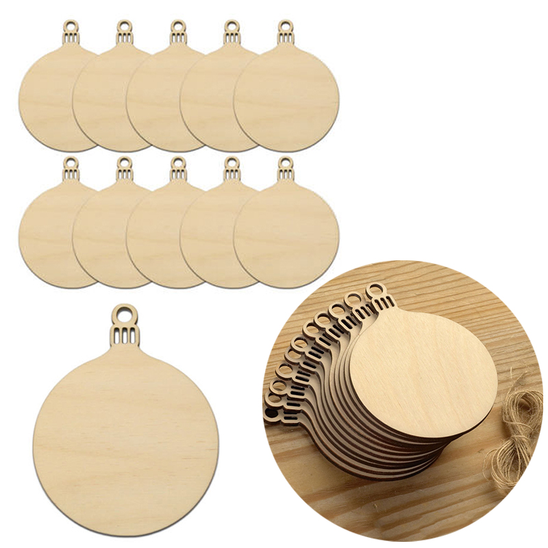 Aliexpress.com : Buy 10pcs Wooden Round Baubles Tags Christmas ...