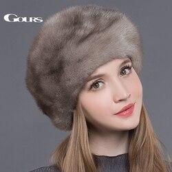 Gours, женские меховые шапки, шапки из натурального меха норки, толстые, теплые, для русской зимы, роскошные, модные, брендовые, высокое качеств...