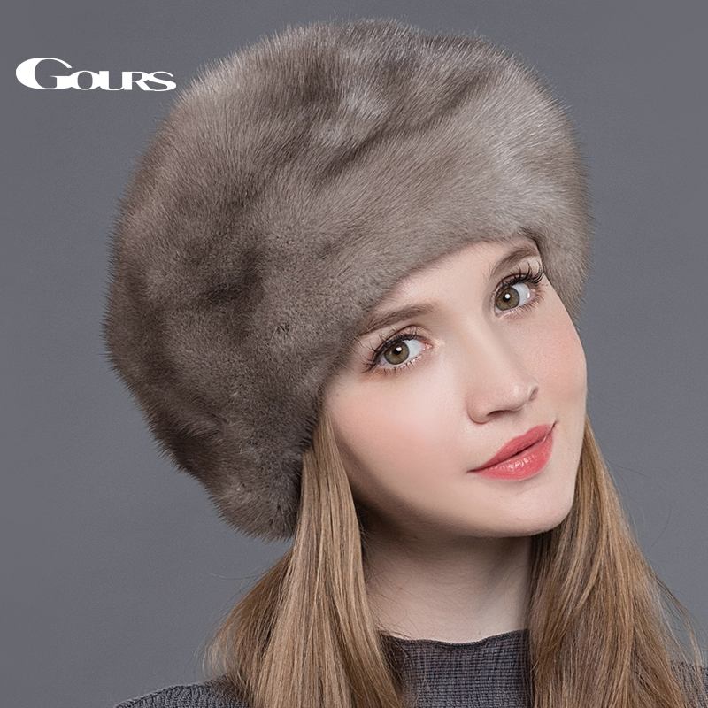 Gours Womens Fur Hats Whole Real Mink Fur Hats Thick Warm In Russian Winter Luxury Fashion Brand High Quality Cap New Arrival
