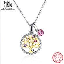Gerçek 925 Ayar Gümüş hayat Ağacı Kolye Kolye Ile Pembe Swarovski Kristal Kadınlar Için Yıldönümü Güzel Takı Hediyeler
