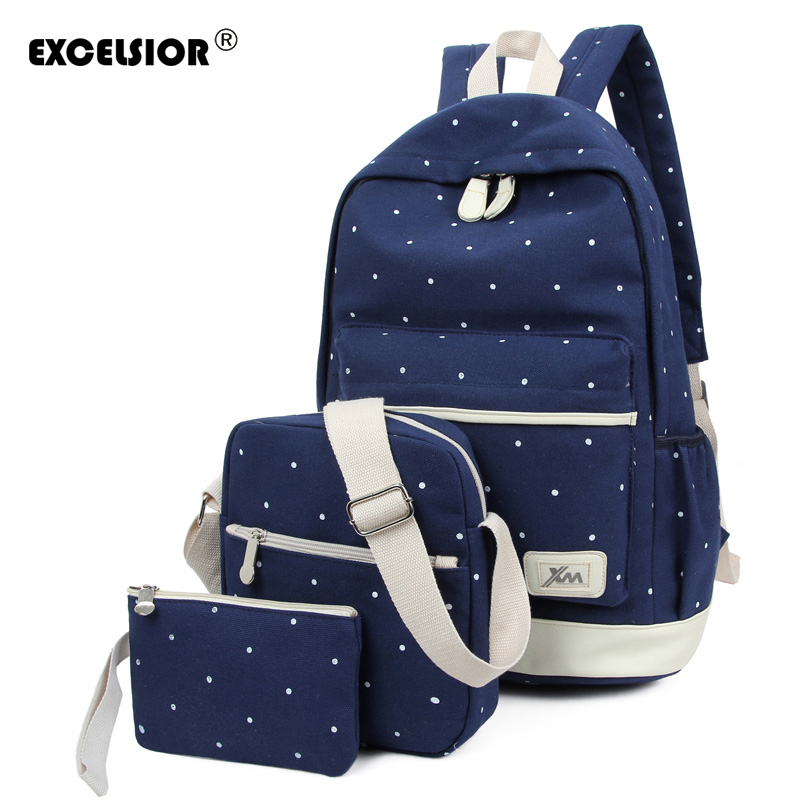 EXCELSIOR 3Pcs Set Women Backpack For Teenage Girls School Bags Canvas Rucksack Back Pack Fresh Dots