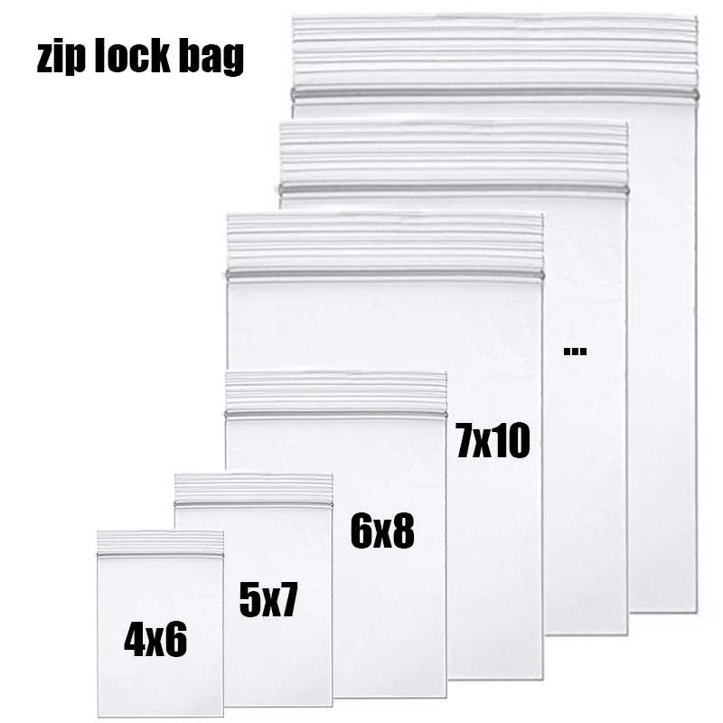 High-end Clear Thick Zip Lock Ziplock Bags Food package Storage bags plastic Small Reclosable packing poly Zip baggies Damp proof Transparent Thickness 0.12mm 0.10mm 0.06mm