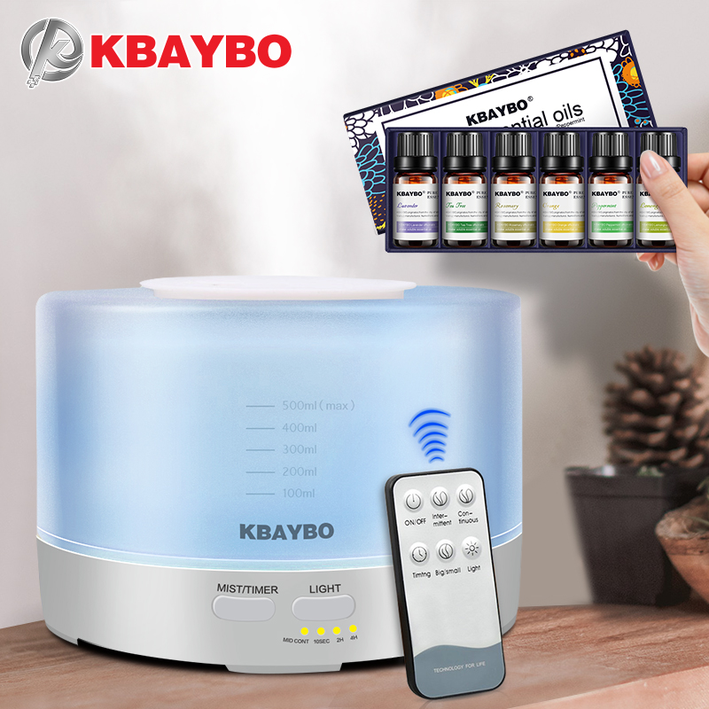 500 ml Control remoto humidificador aromaterapia Aceites aroma difusor con 7 Color LED Aceites para difusor